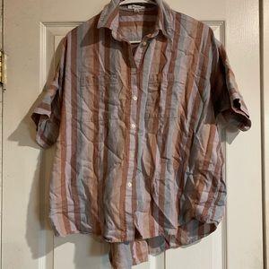 Madewell Courier Shirt Sherbet Striped Button Top